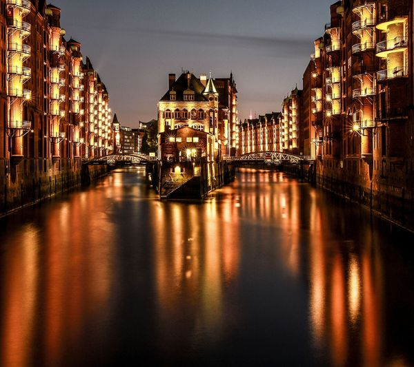 EyeEm Selects Reflection Travel Destinations River Night Cityscape Architecture Illuminated Water Hamburg Speicherstadt Hamburg Speicherstadt Reflection Mix Yourself A Good Time Your Ticket To Europe The Week On EyeEm EyeEmNewHere