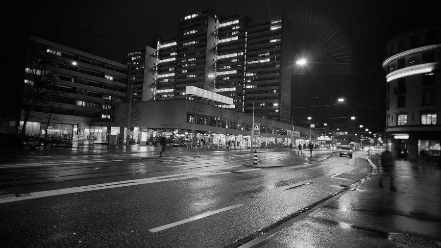 City street during rainy season at night