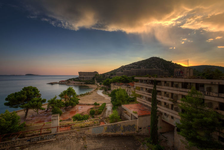 Sky Cloud - Sky Architecture Water Building Exterior Built Structure Sea Sunset No People Outdoors Building Beauty In Nature Travel Destinations Tree Mountain Abandoned Croatia Bay Urbanphotography Urbexphotography HDR Hdrphotography Hdr Edit