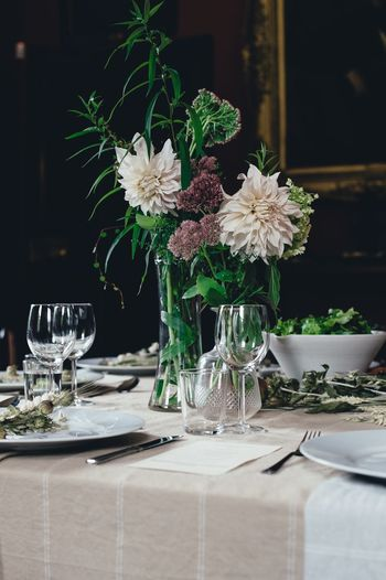 Flowers in vases on dining table