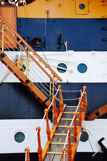 Ladder On Ship Moored At Harbor