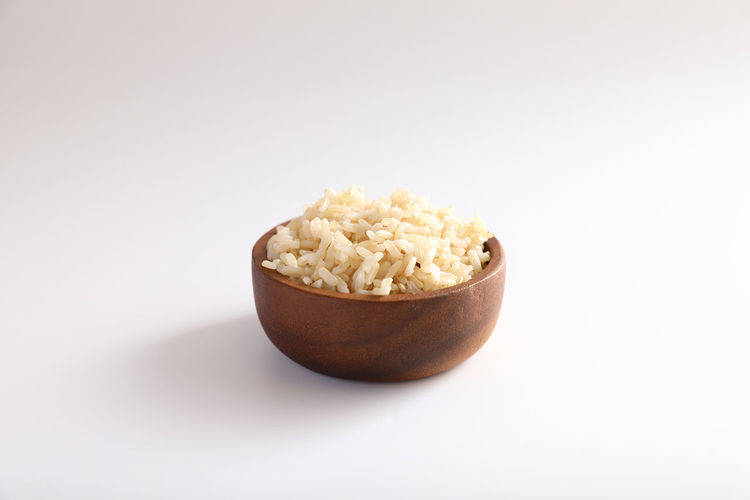 Close-up of bread in bowl against white background