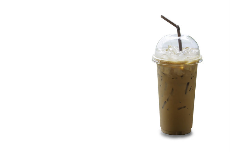 Iced coffee in a plastic glass on a white background with clipping path. Background Bendy Beverage Black Bland Brack Brown Cafe Caffeine Candied Cappuccino Chocolate Coffee Cold Container Cool Cup Disposable Drink Drowsy Easy Espresso Food Fresh Froze Glass Greek Green Ice Iced Isolated Latte Like Liquid Mocha Mug Object Plastic Portable Recycle Refreshment Shake Straw Sugar Sugary Summer Sweet Tea Transparent White