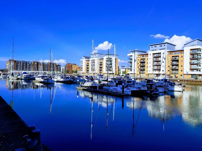 Water Nautical Vessel Blue Reflection City Sky Architecture Building Exterior Built Structure