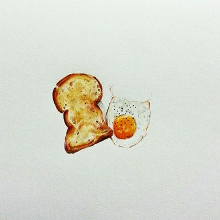 Art Food Breakfast Fried Egg Toasted Bread Egg Yolk Art, Drawing, Creativity Illustration Colorpencils Minimal Foodie Sketch Fineart .