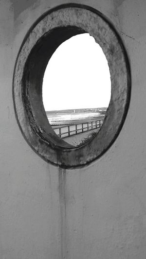 Sea Seaview Beach Circle Window Black & White Looking Through Window Outdoor No People Day