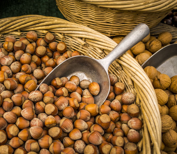 Close-up of nuts in basket