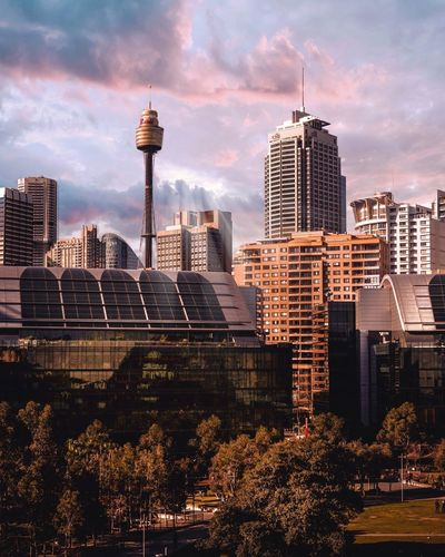 The View of Sydney CBD. Darling Harbour Travel Photography Urban Landscape Urbanphotography Sydney, Australia EyeEm Best Shots EyeEm Gallery EyeEmNewHere EyeEm Selects The Traveler - 2018 EyeEm Awards City Cityscape Urban Skyline Illuminated Modern Skyscraper Sunset Downtown District City Life Office Building Exterior Office Building Tower