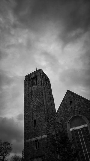 Religion Christianity Christian Worship Blackandwhite Black And White Church Clock Clock Face History Sky Architecture Building Exterior Built Structure Cloud - Sky Tower Tall - High Catholicism Place Of Worship Steeple Spire  The Mobile Photographer - 2019 EyeEm Awards