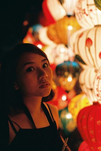 Asian Girl Celebration Childhood Close-up Filmphotography Illuminated Indoors  Night One Person Paper Lantern People Real People Young Adult Young Women