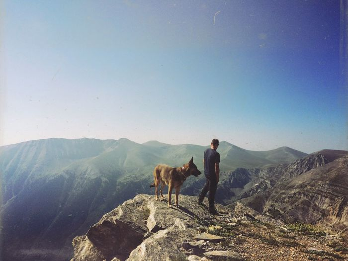 Man Standing With Dog On Top Of Rock