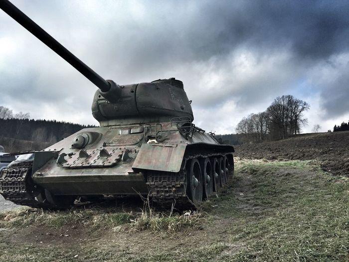 Tank in field