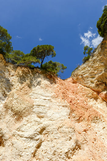 Rock formation amidst trees against blue sky