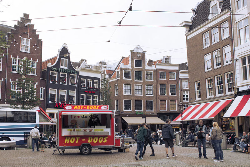 Architecture City Life City Street Hot Dog Stand Incidental People Lifestyles Residential Building Residential Structure Street Street Photography Your Amsterdam