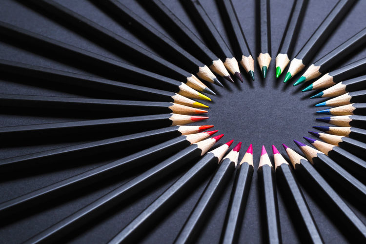 Detail shot of multi colored pencils