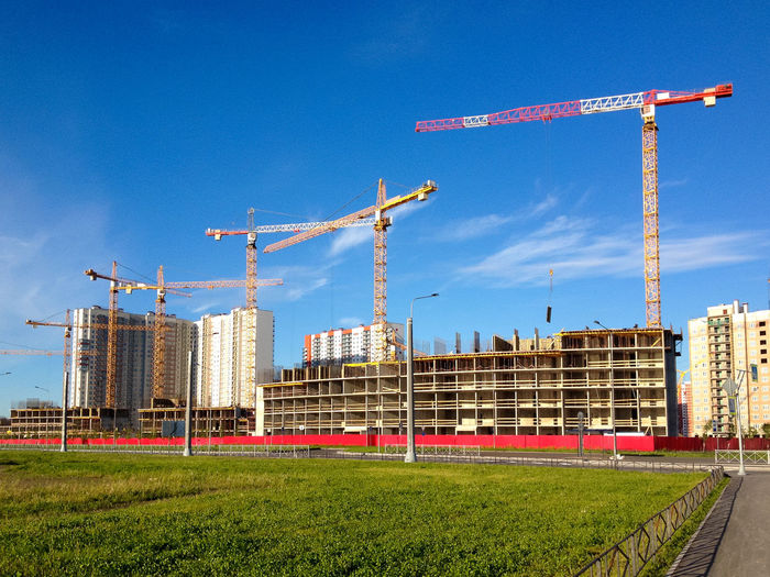 Constuction site Architecture Built Structure City Construction Construction Industry Construction Site Crane Crane - Construction Machinery Development Factory Incomplete Industry Tall - High