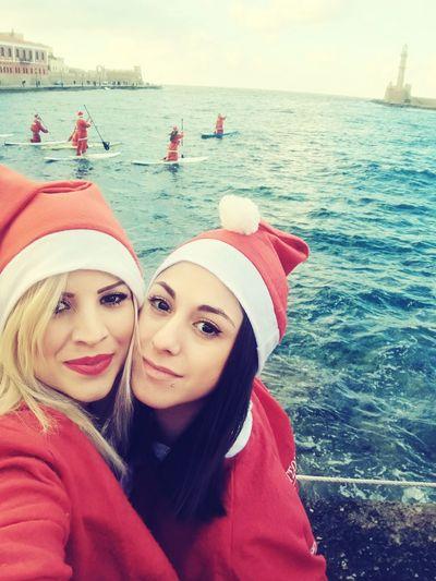 Santaclaus Santarun Happy People Happiness ♡ Faces Of EyeEm Red Lips Chania Old Port Chania Crete Visitcrete Greece