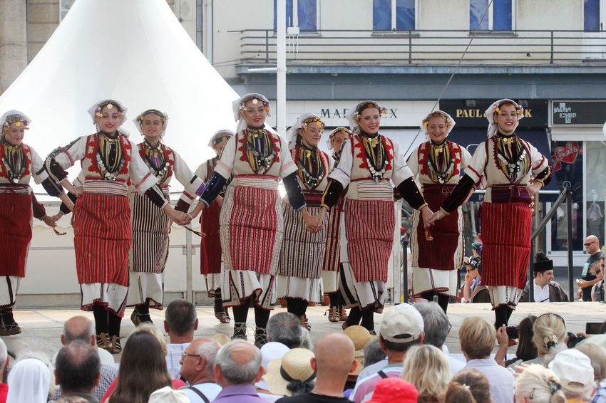 ZAGREB, CROATIA - JULY 22: Members of folk group Etnos from Skopje, Macedonia during the 50th International Folklore Festival in center of Zagreb, Croatia on July 22, 2016 Celebration Costume Croatia Culture Dance Entertainment Festival Folk Folklore Heritage Historic Macedonia Music Participant Perform Show Skopje Style Tradition Zagreb