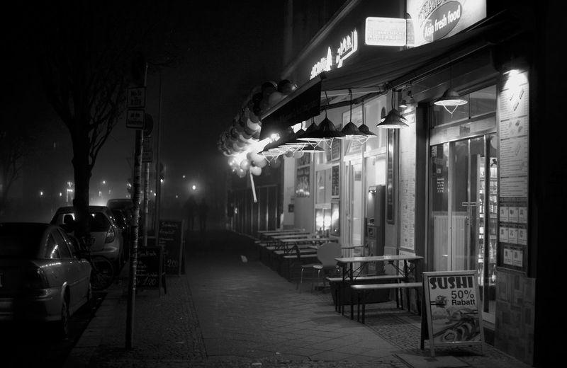 Berlin Black And White Fog Germany Illuminated Kreuzberg Monochrome Night Night Lights Nightphotography No People Späti Street Streetphotography Breathing Space Discover Berlin