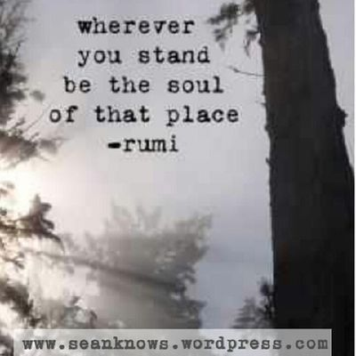 Wherever you stand, be the soul of that place. -rumi SeanKnows Rumi Soul Thursday