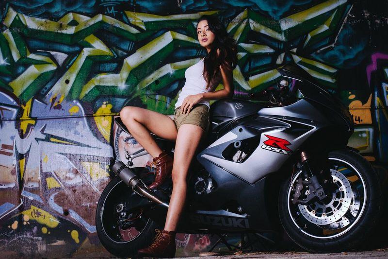 The Fashionist - 2015 EyeEm Awards Fashion Photography Female Model Urban Fashion Fashioneditorial Portrait Of A Woman Suzuki Gsxr 1000 TwentySomething