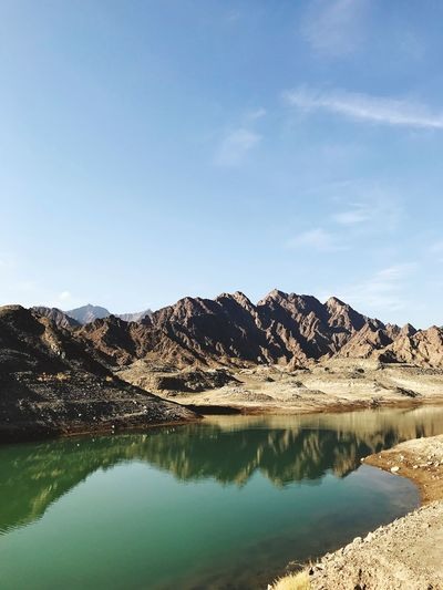 Mountains Hatta UAE Reflection Scenics Mountain Beauty In Nature Tranquil Scene Nature Tranquility Outdoors Lake Water Mountain Range No People Physical Geography Day Rock - Object Sky Waterfront Sunlight EyeEmNewHere