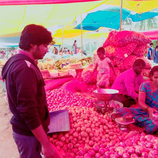 Fresh Outdoors Large Group Of People Freshness Vegetables & Fruits Market Red Colourful Vibrant Color Culture Weekend Activities