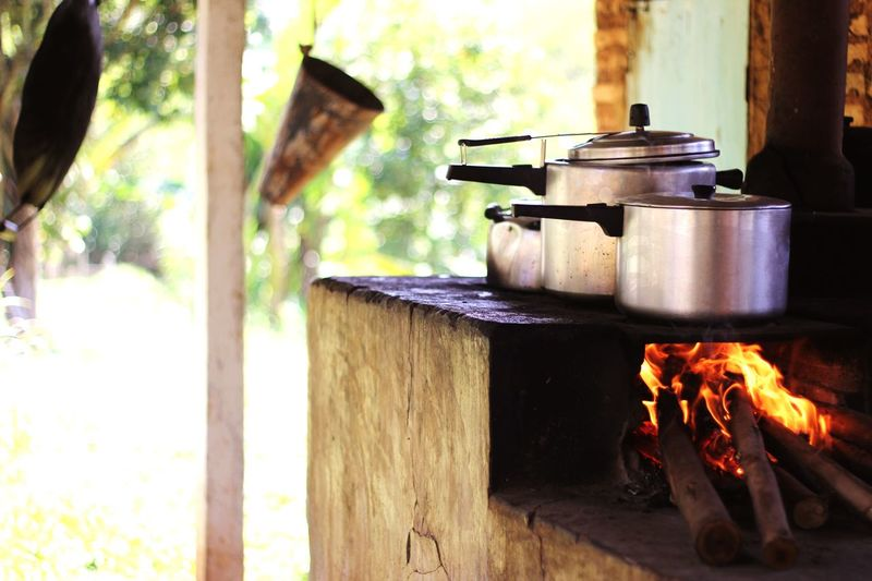 Cooking utensils on wood burning stove
