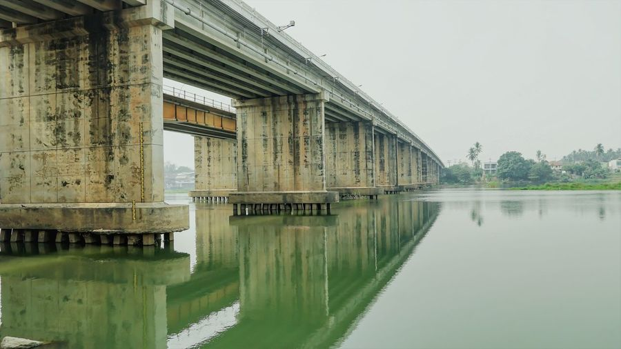 Reflection of bridge on lake against sky
