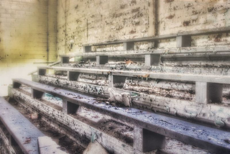 Bleacher Report Abandonment_issues EyeEm_abandonment Abandoned Places Is This Seat Taken? Urbex Bleachers Gym Gymnasium