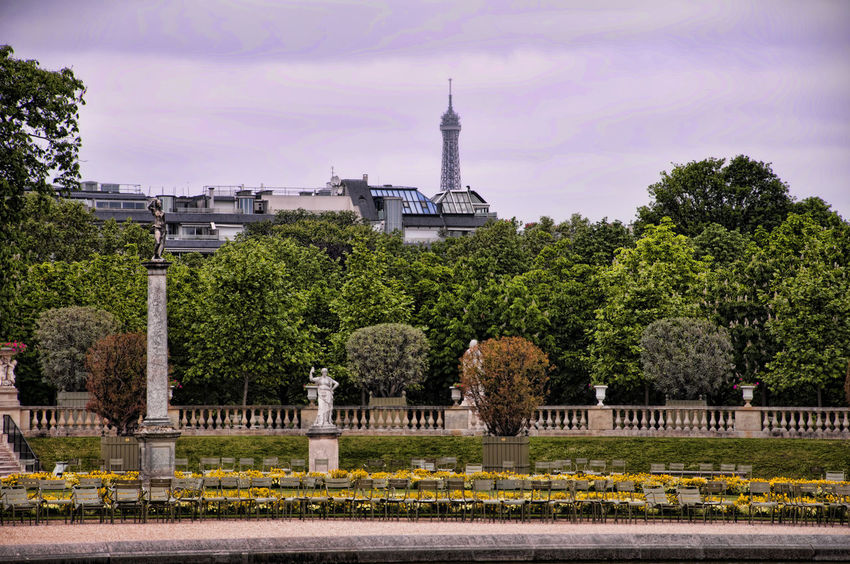 Skyline of Paris at Jardin du Luxembourg Chairs Cloudy France Jardin Du Luxembourg No People Paris Park Tour Eiffel Tranquility Tree Urban Landscape