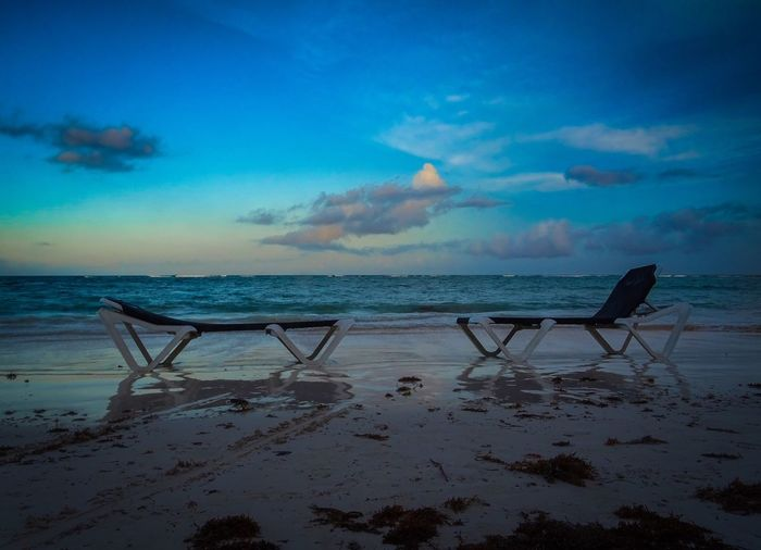 Mexico Sky Water Sea Horizon Over Water Beach Horizon This Is Latin America Land Beauty In Nature Scenics - Nature Cloud - Sky Tranquil Scene Tranquility Nature Sand Outdoors Blue Sunset No People