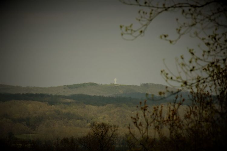 Bald Knob Cross Beauty In Nature Dusk Environment Growth Land Landscape Mountain Nature Night No People Outdoors Plant Scenics - Nature Sky Surreal Tranquil Scene Tranquility Tree Twilight Vistas