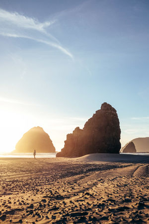 Adventure 43 Golden Moments Outdoors Adventure Gold Beach Oregon Coast Sunset Idyllic Scenic Rock Formation Beach Gold Warm Summer Layers Fine Art Photography Silhouette Nature People And Places Beauty In Nature Scale  Adventure Club Finding New Frontiers Perspectives On Nature Be. Ready. A New Beginning