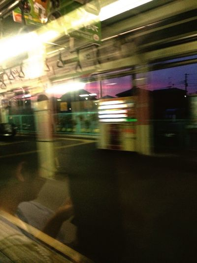 In my way home after a great matsuri in Onishi, Gunma and I get this amazing view out the train window. Takasakiline . Sunset Trainwindow Refection Trainstation Train Takasakiline