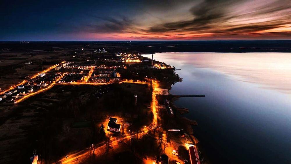 Lake Beautiful Sky Illuminated City Swimming Time