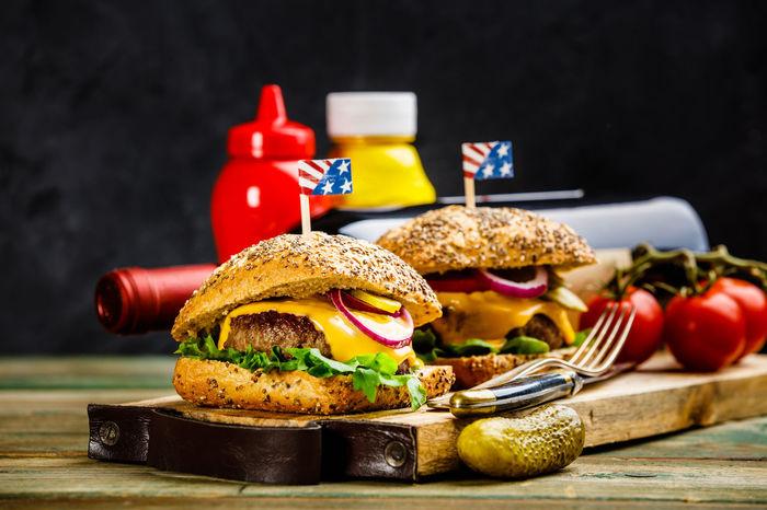 American Cooking Horizontal Dark Background Food Food And Drink Freshness Hamburger Indoors  Ingredient Meat No People Raw Beef