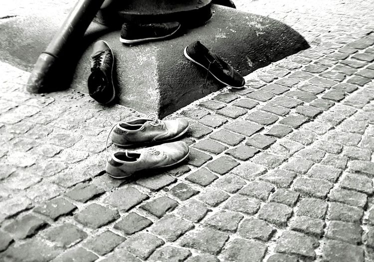 Outdoors Background City Street Cityscape Shoes Lost Found Object Lost Shoes shoes fashion design Lost And Found Lost Clothing Found Street Detail Cobblestone Streets Cobblestone