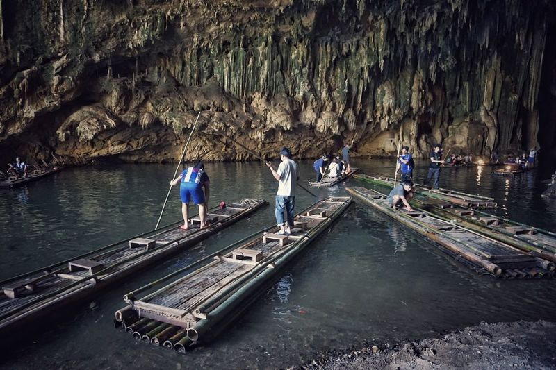 Adventure Nautical Vessel Water Idyllic Beauty In Nature Bamboo Rafts Cave Thailand Light And Shadow Miles Away Travel Destinations Transportation