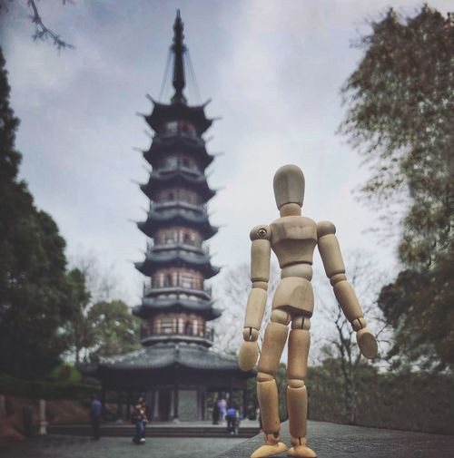 Woody is walking around in China Shanghai China Pagoda Woodyforest Religion Spirituality Place Of Worship Sky Human Representation Sculpture Statue Travel Destinations Architecture