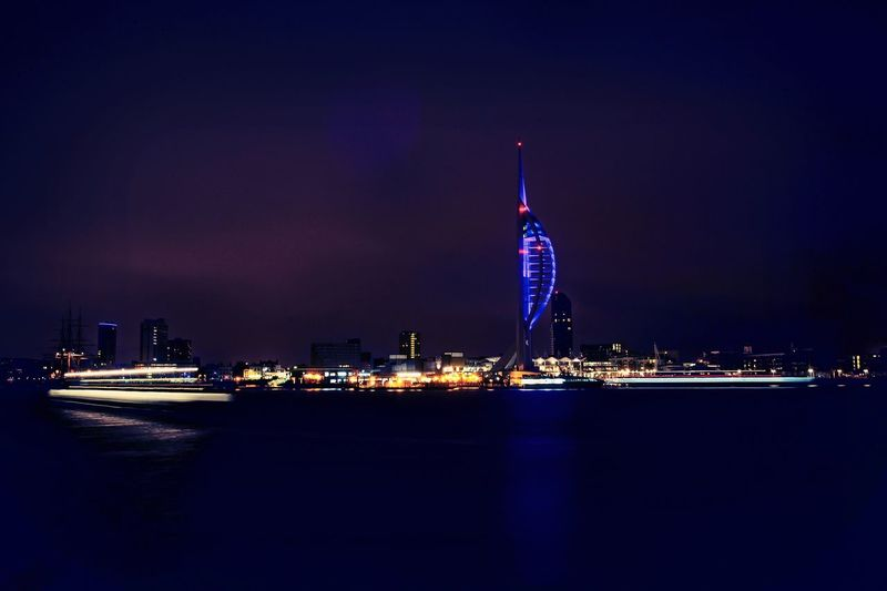 Portsmouth by night. Night Illuminated Built Structure Tower Architecture Travel Destinations City Building Exterior No People Outdoors Water Cityscape Urban Skyline Portsmouth Hampshire UK HUAWEI Photo Award: After Dark