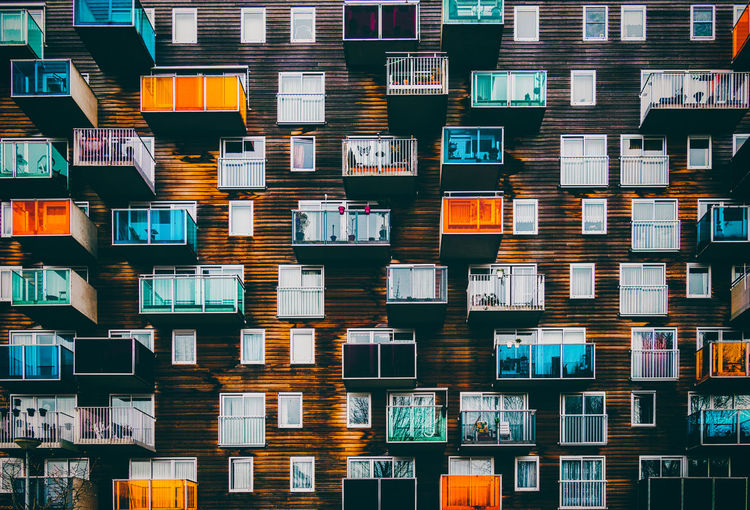 Full Frame Shot Of Colorful Balconies