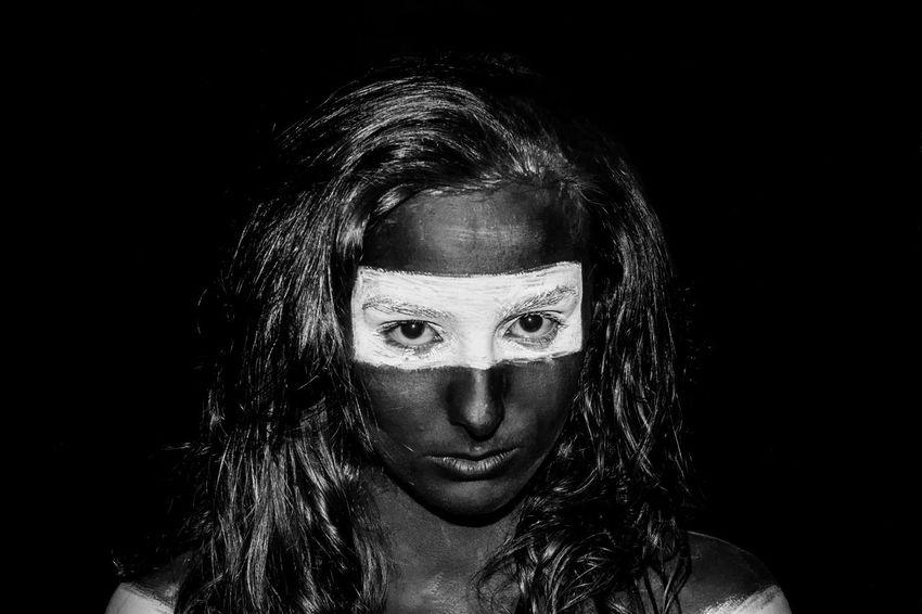 Black Background Close-up Experimental Makeup One Person Paint Portrait Studio Shot UV  Young Adult