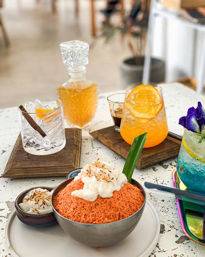 High angle view of dessert in glass on table