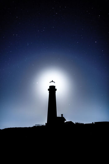 Lighthouse Architecture Astronomy Building Building Exterior Built Structure Dark Direction Guidance Light And Shadow Lighthouse Long Exposure Low Angle View Night No People Ocean Outdoors Safety Scenics - Nature Security Silhouette Sky Space Star - Space Tower