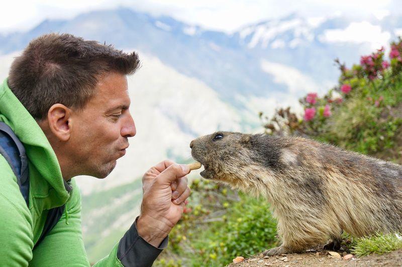 Profile View Of Man Feeding Marmot Against Mountains