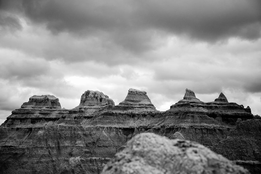 Badlands in black and white Cloud - Sky Rock - Object Landscape Mountain Outdoors Travel Destinations No People Sky Nature Beauty In Nature South Dakota Southdakota Badlands National Park, South Dakota Badlands National Park Badlands Bnw_life Western America Black And White Collection  Black And White Collection  South Dakota Usa Bnw_captures Lost Lost In The Landscape american west South Dakota.