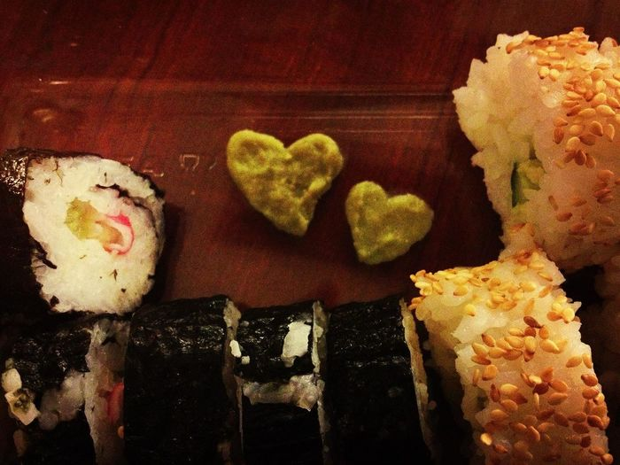 I made another sushi attempt.. ^^;; I personally think it turned out alooooot better than yesterday, although it doesn't really look as good as the ones I get at a restaurant.. ^^;; And can you see that I made two hearts of the wasabi? They're for you guys haha lol! I'm gonna practice and hopefully be better.. Sushi Hehehehe