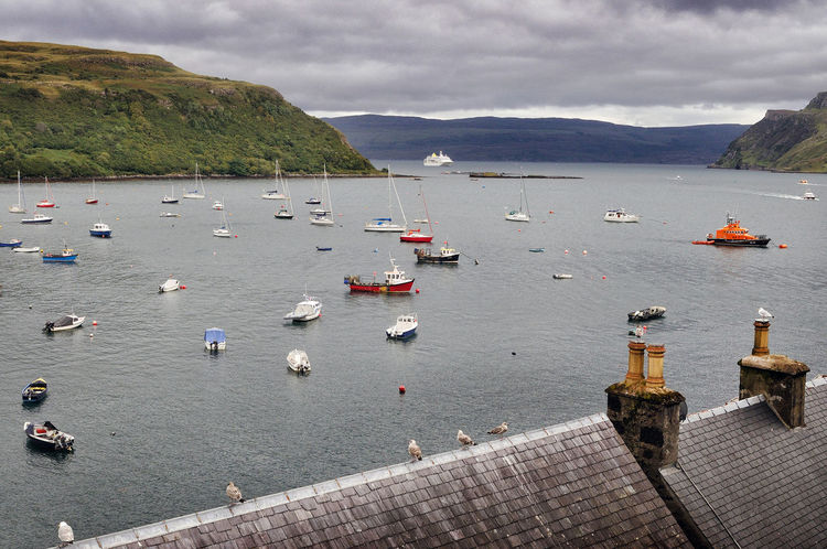 The harbour of Portree, Isle of Skye Harbour Scotland Seagulls Skye Bay Boats High Angle View Highlands Highlands Of Scotland Moored Nautical Vessel Sailboat Sea Sky Tranquil Scene Travel Water Yacht