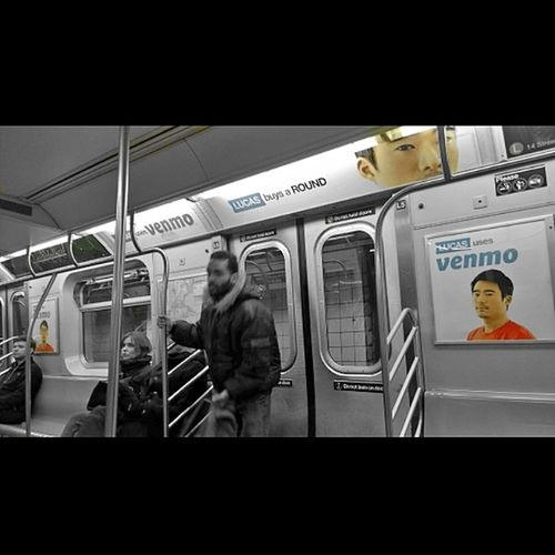 """""""Who is Lucas and why is he stating at me?!? ... Why is he buying rounds? ... And what the f is Venmo anyways?!?!...hmm... I'll google it later."""" *Forgets ALL about Lucas and Venmo as soon as she steps off the train*.... Am I the only one that feels that when I walk into on of these Mta cars?! LOL! Iheartny Randomthoughts EmmaCphotos advertising"""